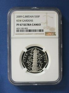 """2009 Silver Proof 50p coin """"Kew Gardens"""" NGC Graded PF67 Ultra Cameo"""