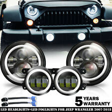"LED 7"" Round Headlight + Fog Light Kit Combo For Jeep Wrangler JK 2007-2018 4x"