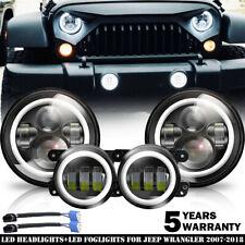 """LED 7"""" Round Headlight + Fog Light Kit Combo For Jeep Wrangler JK 2007-2018 4x"""