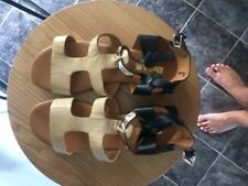 sandles as new worn once size 36 5.5 blk and camel leather light weight sole