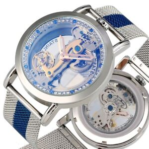 Mens Flywheel Bridge Movement Exhibition Manual Mechanical Wrist Watch SHENHUA