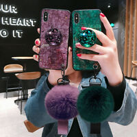 Bling Diamond with  Up Holder Plush Ball Case Cover for iPhone Xs Max Xr 8 7