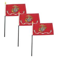 """Pack of 3 Usmc Ega Marine Marines 4""""x6"""" Desk Flag Table Stick Plastic Staff"""