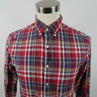 American Eagle Mens Athletic Fit LS Button Down Red Plaid Dress Shirt Small