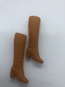 Vintage Barbie Doll Boots Lace Up Orange Brown Squishy Mod Era Groovy Taiwan