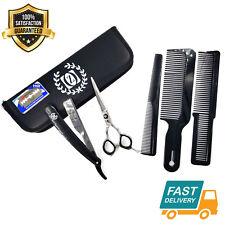 5.5 Inch Shears Set w/ Barber Razor Wet Shave Close Cut Hair Thinning Shear Set