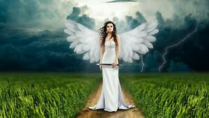 Fantasy Abstract Angel Wings Nature Wall Art Large Framed Canvas Picture