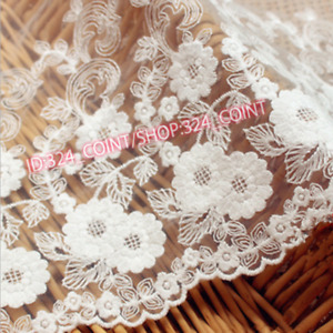 H271 Floral Tulle Lace Trim Ribbon Fabric Flower Embroidery Cotton Trim Sewing