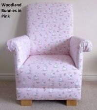 Pink Woodland Bunnies Fabric Child's Chair Kid's Armchair Rabbits Animals Bunny