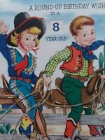 1950s Vtg COWBOY & GIRL Rotating Number Wheel GLITTER Birthday Greeting CARD