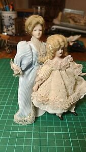 Mother and Daughter ; dolls house dolls;  Vintage Dolls house furniture