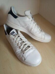 Mens Adidas Stan Smith White Leather Trainers Size UK 10 EU 44 2/3