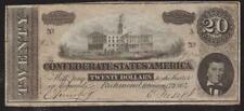 CIVIL WAR CONFEDERATE STATES OF AMERICA 20 DOLLARS RICHMOND BANKNOTE 1864