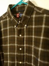 Chaps Flannel Shirt Large Brown Plaid Button Up Long Sleeve