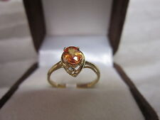 BEAUTIFUL ESTATE 14 KT GOLD VIVID ORANGE SAPPHIRE AND DIAMOND RING !!!