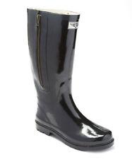 Women Rubber Rain Boots w/ Decorative Side Zipper Closure in Navy Blue & Black