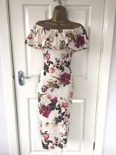 White Flower Print Detail Bodycon Wiggle Pencil Midi Dress Size UK_12 Brand New