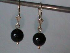 Solid 14kt Gold Leverback Earrings Black Onyx Gem w 14kt Gold Cap & Eye NEW Item