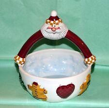 NEW SANTA from PALM TREE CO.~Christmas Holiday Ceramic Basket Bowl Candy Dish
