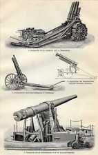 Old military print geschut Assault gun Geschütz 1911 antique