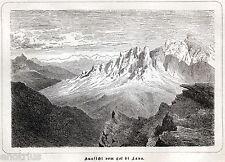 COL DI LANA. Dolomiti. Livinallongo. Ladinia. Belluno.Tirolo. Stampa Antica.1876