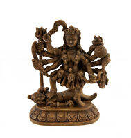 Statua Di Kali O Mahakali Dieu Indù IN di Resina Marrone Chiaro 4736 z5