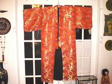 Beautiful Old Japanese Embroidered Brocade Red/Gold Dress or Wedding Kimono