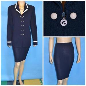 St John Collection Navy Blue Jacket Skirt L 14 12 Pink 2pc Suit Trims Zipper