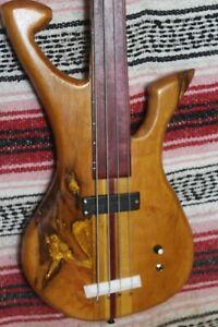 "Bass Fretless 4 String Cherry Claw Wishbass Regular Scale 34""  Mica Inlay"