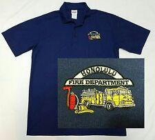 Honolulu Fire Dept HFD Mens Polo Shirt Large L - Dark Blue - Hawaii Fire Engine