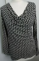 ADINI TOP, SIZE L, BUST 38, MADE IN ITALY, COWL NECK, LONG SLEEVE .ASYMMETRICAL