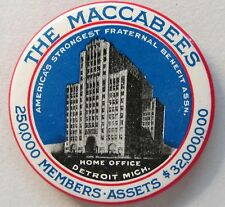 THE MACCABEES FRATERNAL Home Office Detroit MICHIGAN celluloid pocket mirror *