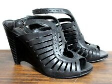 SEXY B. MAKOWSKY BLACK GENUINE LEATHER HIGH HEEL WEDGE SANDALS SHOES SIZE 7.5 M