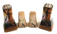 Salt Pepper Shakers Windmill Cherry Blossom Lusterware Japan lot of 4