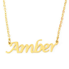 Amber Name Necklace Stainless Steel/ 18ct Gold Plated | Wedding Girlfriend Gifts