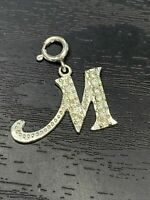 Initial M Monogram CHARM Cubic Zirconia 925 STERLING SILVER