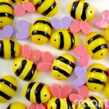 10pcs Yellow Bees Cabochon Flatback Horse Hair Bow Center Craft Embellish