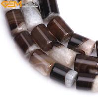 "Column Natural Botswana Agate Stone Beads Tube Cylinder For Jewelry Making 15"""