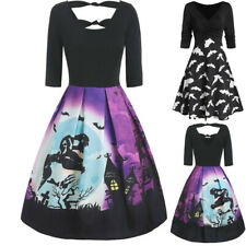Women Vintage Long Sleeve Dress V Neck Halloween Evening Prom Long Dress CA