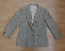 "WOMENS OSCAR DE LA RENTA TWEED BLAZER GREEN WHITE 36"" F4-A10"
