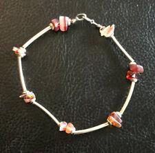"Sterling Silver Bracelet Agate Carnelian Nugget Station Tube 7.6"" 5g 925 #1163"