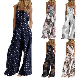 Women Printed Summer Loose Wide Leg Jumpsuit Romper Playsuit Dungarees Overalls