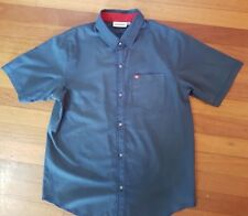 Quicksilver Slate Surfers Shirt SZ S Button front Beach Skater Hipster