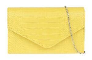 Womens Croc Leather Look Clutch Bag Plain Classic Chain Party
