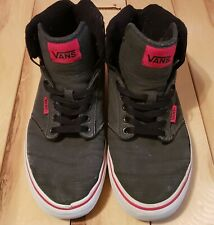 Vans Mid Top Gray Lace Up Mens 7.5 Pre Owned Red Trim