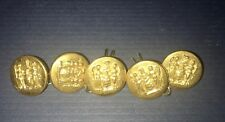 NOS Brass Metal N.J. STATE SEAL Buttons Lot of (5) Waterbury Button Co. 1/2""