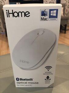 NEW iHome BLUETOOTH Wireless Optical Mouse MAC PC WINDOWS 10 iMac MacBook -White
