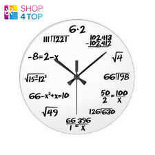 MATH EQUATION BOARD WALL CLOCK WHITE MODERN ROUND HOME OFFICE NOVELTY GIFTS NEW