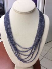 Natural Blue Violet Iolite  21 inches 7 strands 14k gold clasp handmade necklace