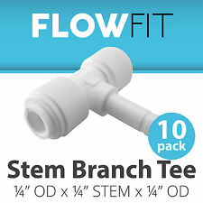"Stem Branch Tee 1/4"" Fitting Connection for Water Filters / RO System - 10 Pack"